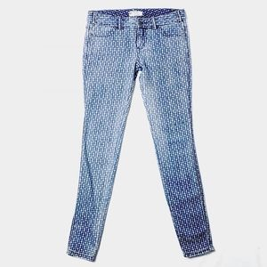Free People Skinny Jeans Checkered Print Blue